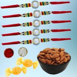 Dazzling Set of 5 Rakhi with Healthy Dry Fruits N Free Chocolates