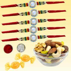 Rocking Rakhi Set of 5 with Dry Fruits N Free Chocolates