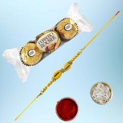 Graceful Ethnic Rakhi with 3pc Ferrero Rocher