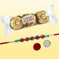 Smashing Rudraksha Rakhi N 3pc Ferrero Rocher Combo