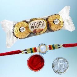 Traditional Rakhi with 3pc Ferrero Rocher Pack
