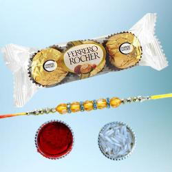 Elegant Diamond Rakhi with 3pc Ferrero Rocher Pack