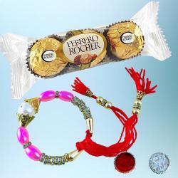 Dashing Bracelet Rakhi with 3pc Ferrero Rocher
