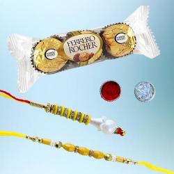 Delightful Lumba Rakhi Set N 3Pc Ferrero Rocher Combo