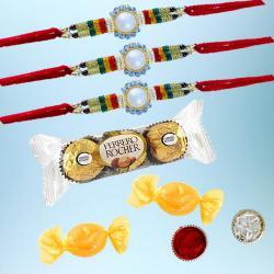 Trendy Rakhi Set of 3 with 3pc Ferrero Rocher N Free Chocolates