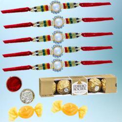 Designer Rakhi Set with 5pc Ferrero Rocher N Free Chocolates