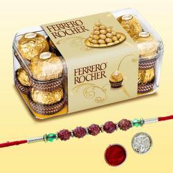 Traditional Rudraksha Rakhi with 15pc Ferrero Rocher