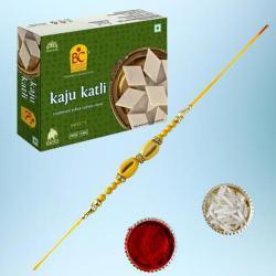 Charming Gift of Ethnic Rakhi with Kaju Katli