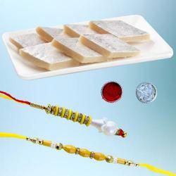 Stylish Bhaiya Bhabhi Rakhi with Tasty Kaju Katli Pack