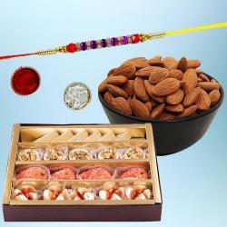 Ravishing Gift of Ethnic Rakhi with Mithai N Dry Fruits