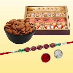 Marvelous Rudraksh Rakhi with Tasty Mithai N Dry Fruits
