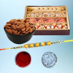 Classy Diamond Rakhi with Dry Fruits N Delicious Sweets