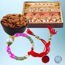 Splendid Bracelet Rakhi with Tasty Mithai N Dry Fruits