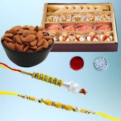 Gorgeous Lumba Rakhi Set with Delicious Mithai N Dry Fruits