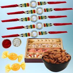 Fabulous Set of 5 Rakhi with Delicious Mithai N Dry Fruits