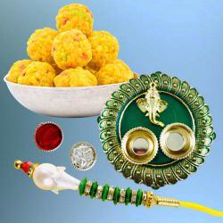 Exciting Lumba Rakhi with Tasty Boondi Laddoo N Puja Thali