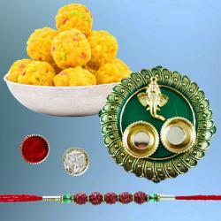 Fascinating Rudraksh Rakhi with Boondi Laddoo N Puja Thali