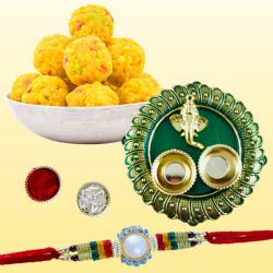 Dazzling Rakhi with Yummy Boondi Laddoo N Puja Thali