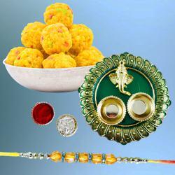 Charismatic Diamond Rakhi with Puja Thali N Boondi Laddoo