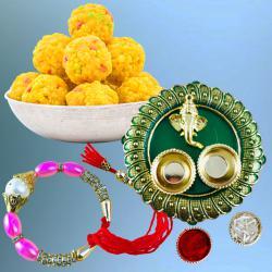Exquisite Bracelet Rakhi with Puja Thali N Boondi Laddoo