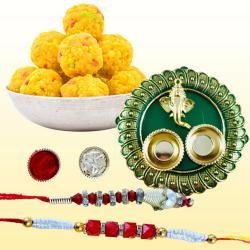 Stylish Bhaiya Bhabhi Rakhi with Puja Thali N Boondi Laddoo