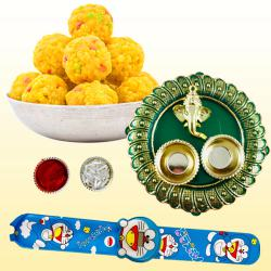 Delightful Kids Rakhi with Tasty Boondi Laddoo N Puja Thali