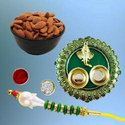 Fantastic Lumba Rakhi with Dry Fruits N Puja Thali