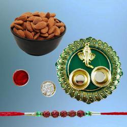 Glamorous Rudraksh Rakhi with Dry Fruits N Puja Thali