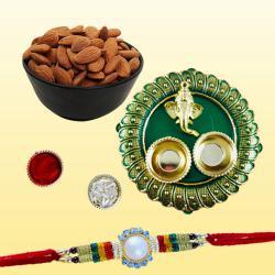 Smashing Rakhi with Crispy Dry Fruits N Puja Thali