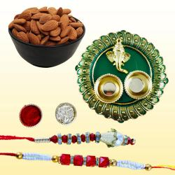 Showy Lumba Rakhi Set with Crispy Dry Fruits N Puja Thali