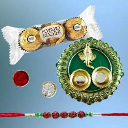 Elegant Rudraksh Rakhi with 3pc Ferrero Rocher N Puja Thali