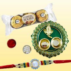 Gorgeous Rakhi with 3pc Ferrero Rocher N Puja Thali