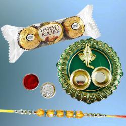 Elegant Diamond Rakhi with 3pc Ferrero Rocher N Puja Thali