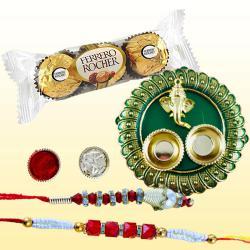 Glamorous Lumba Rakhi with Puja Thali N 3pc Ferrero Rocher