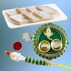 Elegant Lumba Rakhi with Delicious Kaju Katli N Pooja Thali