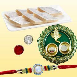 Beautiful Rakhi with Delicious Kaju Katli N Puja Thali