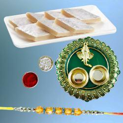 Classic Diamond Rakhi with Finest Kaju Katli N Puja Thali