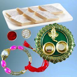 Exclusive Bracelet Rakhi with Tasty Kaju Katli N Puja Thali