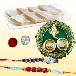 Fancy Bhaiya Bhabhi Rakhi with Tasty Kaju Katli N Puja Thali