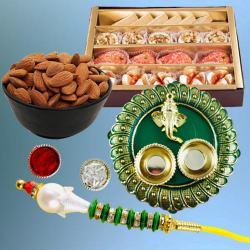 Classic Gift of Lumba Rakhi, Mithai, Dry Fruits N Puja Thali