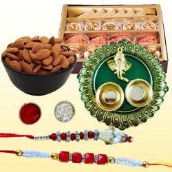 Classy Bhaiya Bhabhi Rakhi with Puja Thali, Mithai N Dry Fruits
