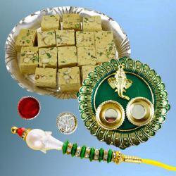 Designer Lumba Rakhi with Delicate Soan Papdi N Puja Thali