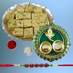 Exclusive Rudraksh Rakhi with Soan Papdi N Puja Thali