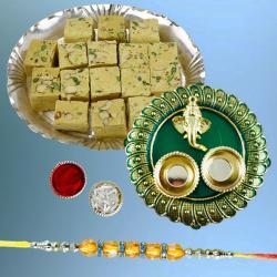 Dazzling Diamond Rakhi with Soan Papdi Pack N Puja Thali