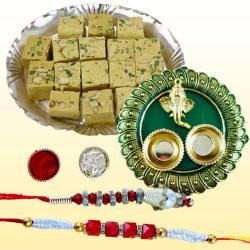 Gorgeous Lumba Rakhi Set with Tasty Soan Papdi N Puja Thali