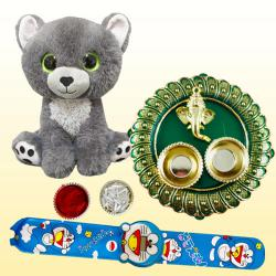 Magnificent Kids Rakhi with Puja Thali N Cuddly Soft Toys