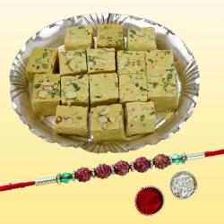 Appealing Rudraksh Rakhi with Delicious Soan Papdi Pack
