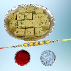 Gorgeous Diamond Rakhi with Delectable Soan Papdi Pack