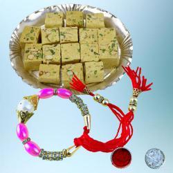 Designer Bracelet Rakhi with Tasty Soan Papdi Pack