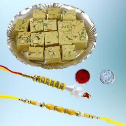 Amazing Lumba Rakhi Set with Yummy Soan Papdi Pack